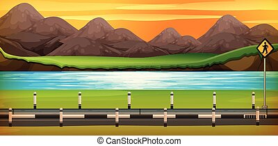 Background scene with river at sunset
