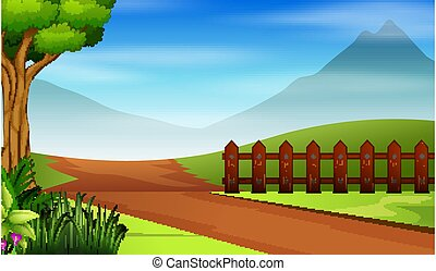Background scene with road and green field