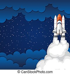 Background scene with rocket flying in the space