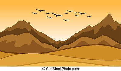 Background scene with sand and hills illustration