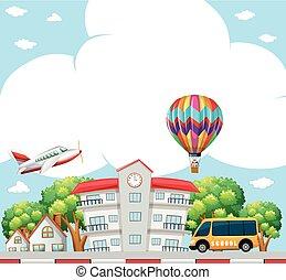 Background scene with school in neighborhood