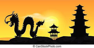 Background scene with silhouette chinese dragon at sunset