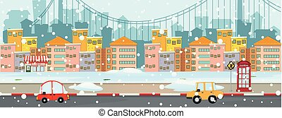 Background scene with snow in the city