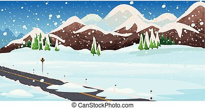 Background scene with snow in the field