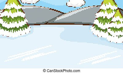 Background scene with snow on the ground