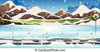 Background scene with snow on the mountains
