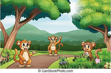 Background scene with three monkeys at the nature