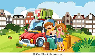 Background scene with tourists and car on the road