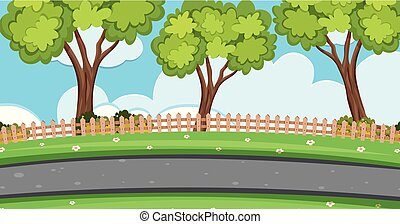 Background scene with trees along the road