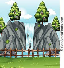 Background scene with waterfall in park