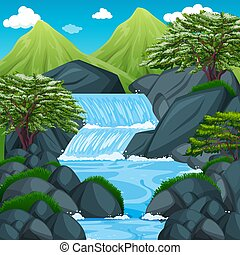 Background scene with waterfall in the mountain