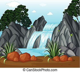 Background scene with waterfall in the woods
