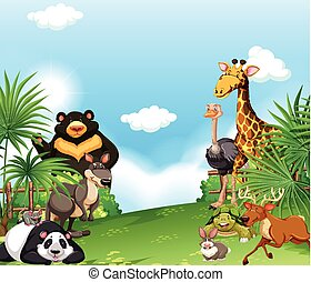 Background scene with wild animals in the field