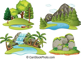 Background scenes with forest and waterfall