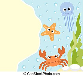 Background sea animals cartoon card