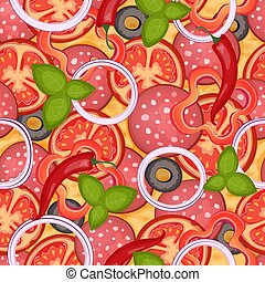 Background seamless pattern Delicious pizza with salami and pepper