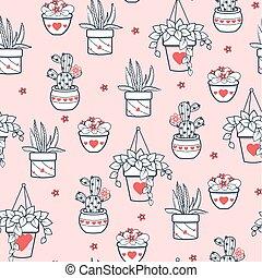 background Seamless pattern  houseplant