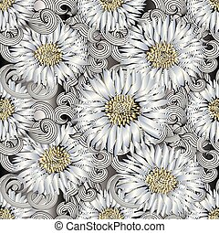 Background seamless pattern of 3d flowers . Abstract chamomiles, daisy