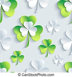 Background seamless pattern with 3d Patrick clover