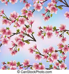 Background seamless pattern with sakura tree