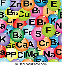 Background seamless with chemical formulas of vitamins and minerals