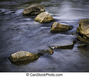 autumn calm river with stones