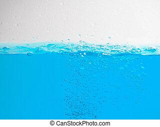 background selective focus, blurred, water border, blue wave, Water splash