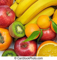 background set of fruits