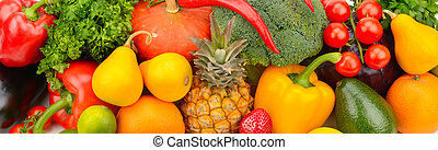 background set of vegetables, fruits and greens