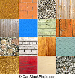 background set - set of different stone and wooden...