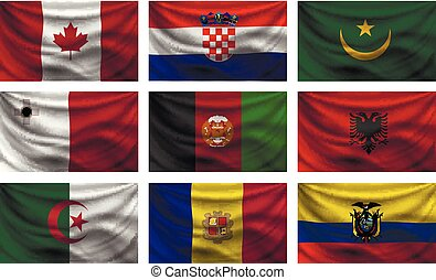 set wave country flag with shadows - background set wave...