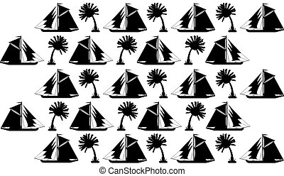Background, silhouettes of palms and ships
