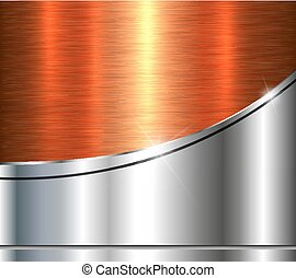 Background silver metallic with orange brushed metal shiny...