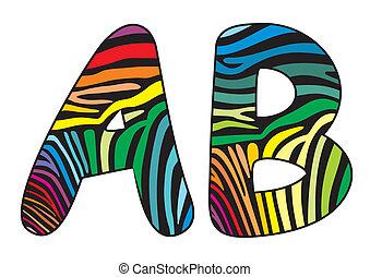 Background skin zebra letter A,B