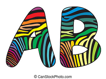 Background skin zebra letter A,B
