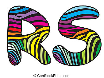 Background skin zebra letter R,S