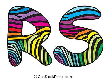 Background skin zebra letter R,S