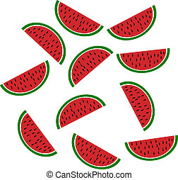 Background: slices of watermelon - vector illustration