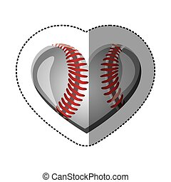 background sticker of heart with texture of baseball ball