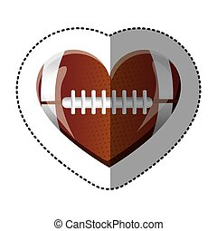 background sticker of heart with texture of football ball