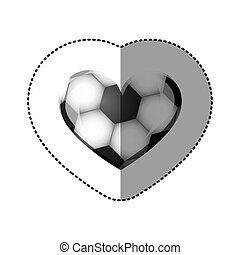 background sticker of heart with texture of soccer ball