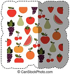background sticker with fruits in irregular shape