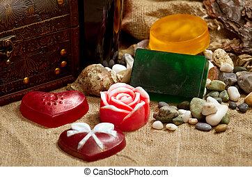 still life with handmade soap