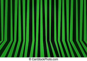 Background striped room in green and black. Vector illustration.