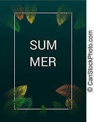 Background Summer Tropical Leaves Vector Design.