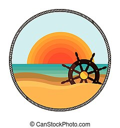 background sunset with boat helm