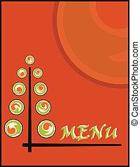 sushi menu - background sushi menu on new year or christmas