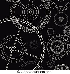 Background technology with gears and cogwheel, vector...