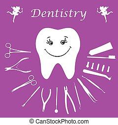 Background, teeth, dental instruments, dental care.