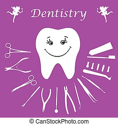 Background, teeth, dental instruments, dental care.